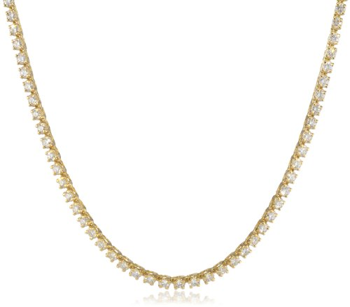 IGI Certified 14K Yellow Gold Diamond Tennis Necklace (5.00 cttw, H-I Color, SI2-I1 Clarity), 17″