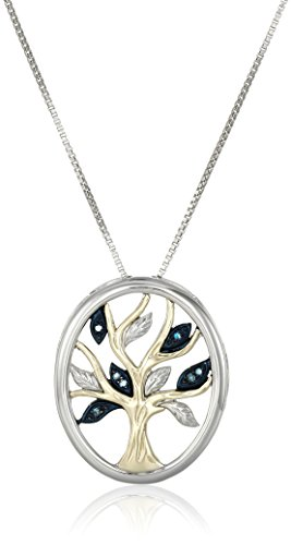 Sterling Silver and 14k Yellow Gold Diamond Tree of Life Pendant Necklace (.04 cttw), 18″