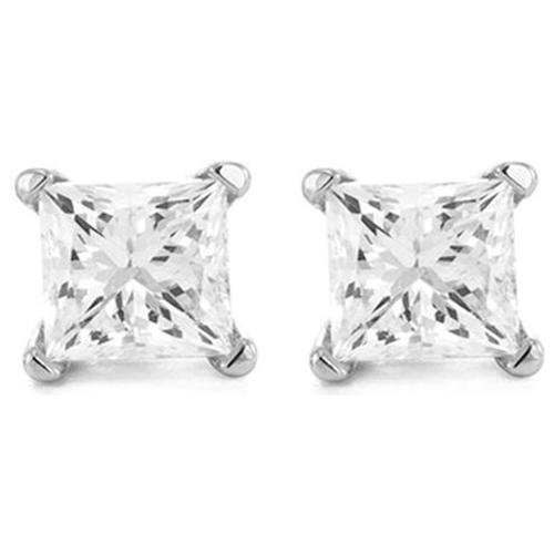 1.5 Carat Solitaire Diamond Stud Earrings Princess Cut 4 Prong Push Back (J-K Color, I1 Clarity)
