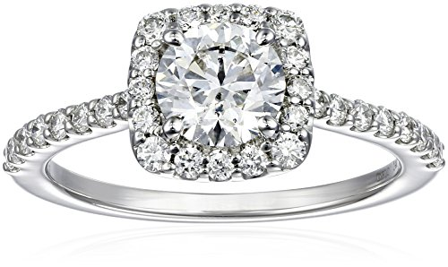 GIA-Certified 14k White Gold Diamond Halo Ring (1 1/2 cttw, G-H Color, SI1-SI2 Clarity)