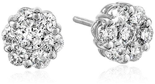 14k White Gold Diamond Flower Stud Earrings (1 cttw, H-I Color, SI2-I1 Clarity)