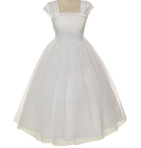 Flower Girl Cap Sleeved Big Girls' White Dress First Holy Communion