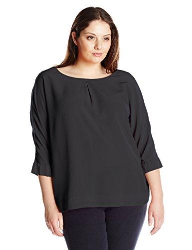 Calvin Klein Women's Plus-Size 3/4 Sleeve Crew Neck Blouse