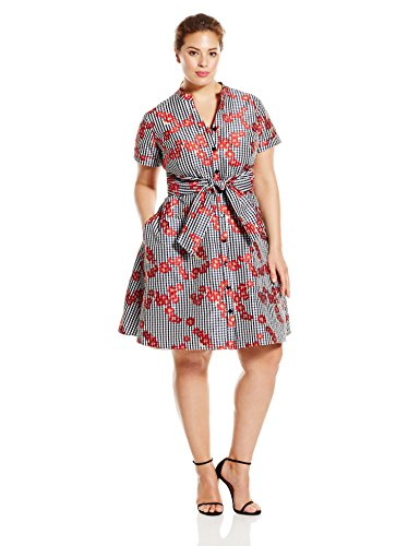 Adrianna Papell Women's Plus-Size Gingham and Floral Flared Shirt Dress