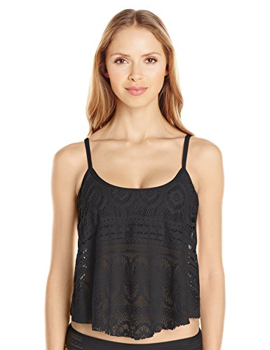 Kenneth Cole Reaction Women's Suns Out Crochet Buns Flyaway Tankini Top
