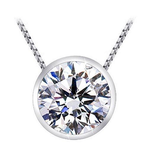 Near 1 Carat Bezel Set Solitaire Diamond Pendant Necklace Platinum (J, I2, 0.85 ctw)