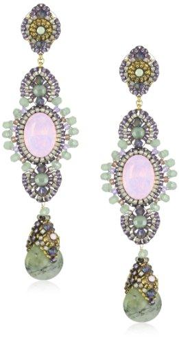 Miguel Ases Green Rutilated Quartz and Prehnite Quartz Long Drop Earrings