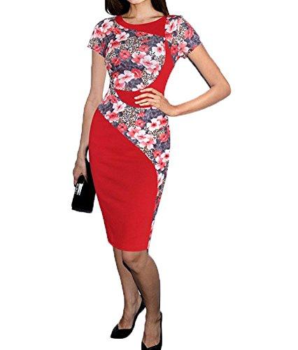 Colyanda Women's Elegant Colorblock Wear to Work Business Stretch Pencil Dress