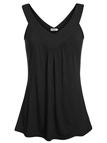 Ninedaily Women Sleeveless Comfy Tunic Top Pleated Front V Neck Tanks Vest