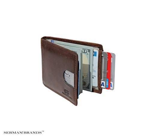 SERMAN BRANDS- RFID Blocking Bifold Slim Genuine Leather Thin Minimalist Front Pocket Wallets for Men Money Clip – Made From Full Grain Leather