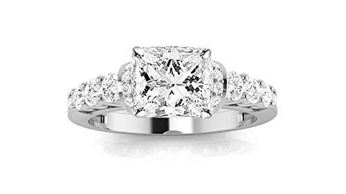 1.85 Carat GIA Certified Princess Cut 14K White Gold Designer Four Prong Pave Set Round Diamonds Engagement Ring (I-J Color VS1-VS2 Clarity)