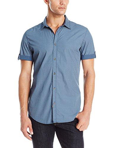 Calvin Klein Jeans Men's Short Sleeve Countdown Print Button Down Shirt
