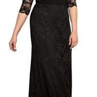 Dilanni Women's Plus Size V Neck 2/3 Sleeves Evening Party Long Lace Dresses