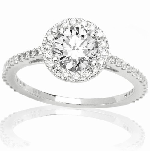 1.07 Carat GIA Certified Round Cut Classic Halo Diamond Engagement Ring (H Color, VS2 Clarity) w/ 3/4 ct center