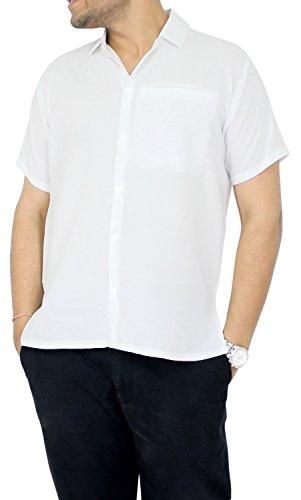 La Leela Hawaiian Shirt Men Short Sleeve Front-Pocket Rayon Plain in many colors