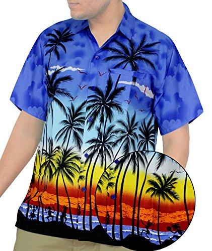 La Leela Hawaiian Shirt For Men Short Sleeve Front-Pocket ALOHA Palm Tree Blues