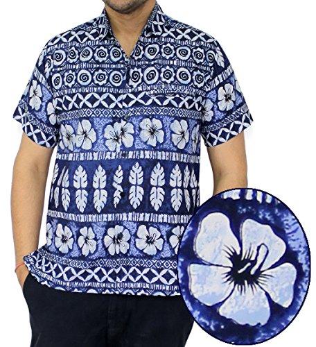 La Leela Hawaiian Shirt Front-Pocket Men Short Sleeve ALOHA Blue Hibiscus Flora