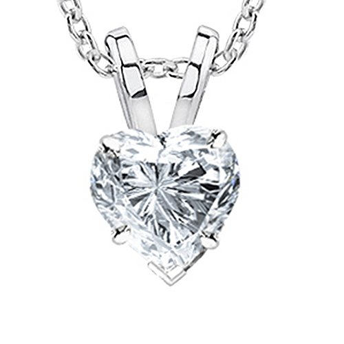 3/4 Carat 14K White Gold Heart Diamond Solitaire Pendant Necklace 4 Prong H-I Color SI2-I1 Clarity