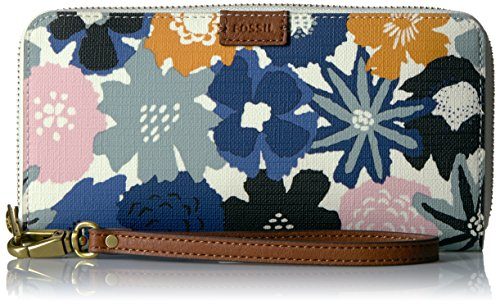 Fossil Emma Rfid Large Zip Wallet-Navy Floral
