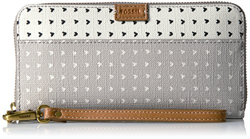 Fossil Emma Rfid Large Zip Wallet-Grey/White