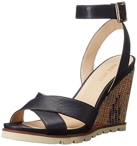 Nine West Women's Gilly Leather Wedge Sandal