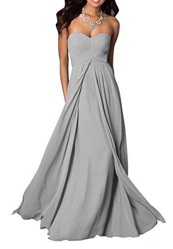 WeiYin Women's Chiffon Long Sweetheart Evening Gown Party Dresses