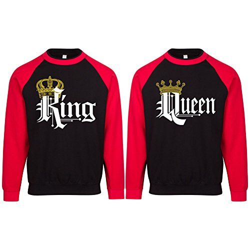 S&R KING AND QUEEN COUPLE MATCHING CREWNECK CONTRAST RAGLAN SLEEVE FLEECE SWEATSHIRT