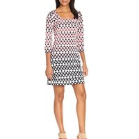 Jessica Simpson Women's Printed Shift Dress with Lattice Back Detail
