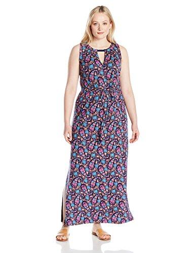 Lucky Brand Women's Plus Size Floral Print Long Dress