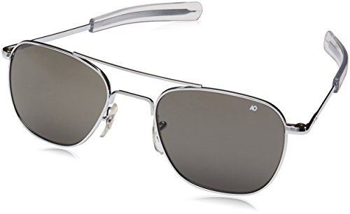 AO Eyewear Original Pilot Sunglasses 52mm Silver Frames with Bayonet Temples and True Color Grey Glass Lenses (OP52S.BA.TC)
