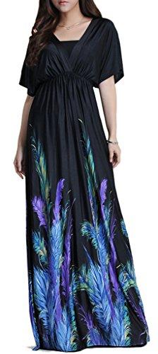 Wantdo Women's Boho Bohemian V Neck Beach Maxi Dress Plus Size