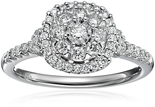 10k White Gold Diamond Round Halo Engagement Ring (1/2cttw, H-I Color,I2 Clarity), Size 7