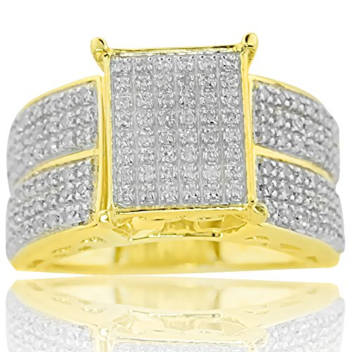 10K Yellow Gold Diamond Engagement Ring Extra Wide 0.50ctw (i2/i3,i/j)