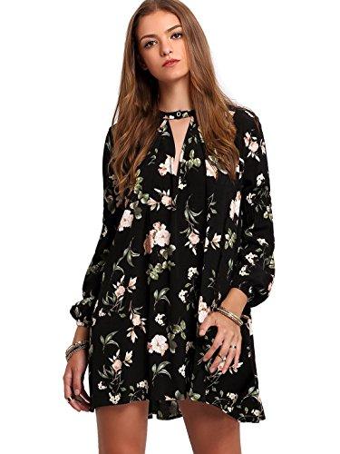 Milumia Women's Bohemian Long Sleeve Floral Print Tunic Dress