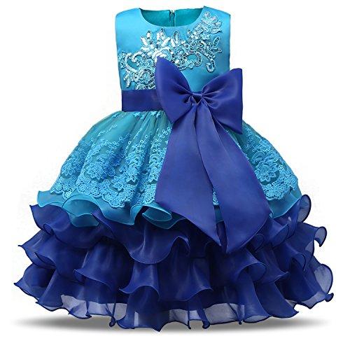NNJXD Girl Ruffles Vintage Embroidered Sequins Flower Wedding Dress