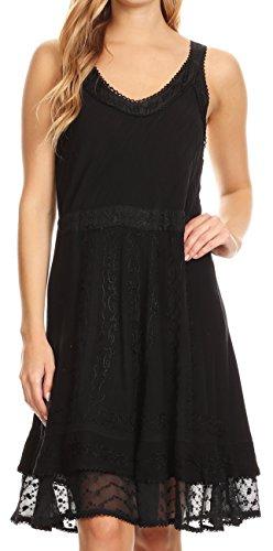 Sakkas Dalila Sleeveless Midi Dress Stonewash with Embroidery and Crochet Lace