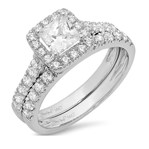 1.8 Ct Princess Cut Pave Halo Bridal Engagement Wedding Anniversary Ring Band Set 14K White Gold, Clara Pucci