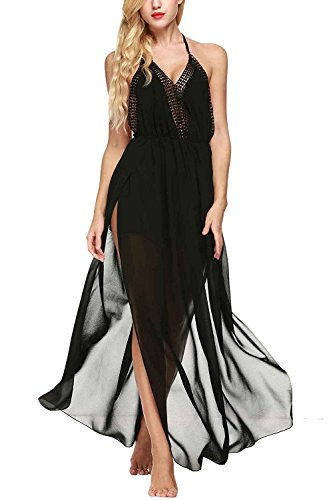 Beautifullight Fashion Women's Chiffon Halter Cover Up Long Maxi Beach Wedding Party Dress