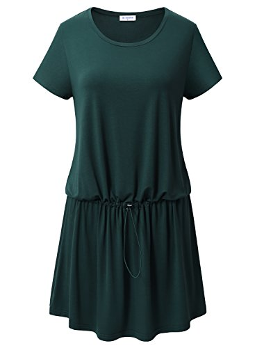 Bulotus Women Short Sleeve Roudn Neck Casual T Shirt Dress with Drawstring Waist