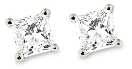 IGI Certified Platinum Princess Diamond Stud Earrings (1/4 – 2 cttw, G-H Color, VS2 Clarity)