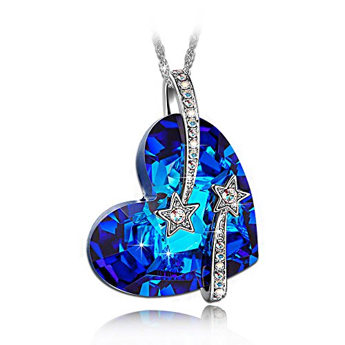 "LadyColour ""Venus"" Shooting Star & Engraved Bermuda Blue Heart Pendant Necklace Made With Swarovski Crystals"