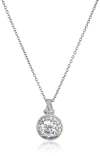 Platinum-Plated Sterling Silver Swarovski Zirconia Round-Cut Antique Pendant Necklace, 18″
