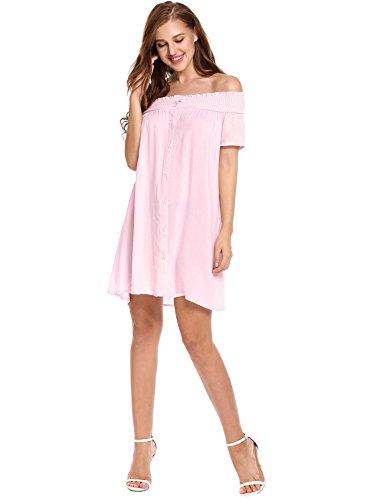 Zeagoo Women's Casual Off Shoulder Ruffle Sleeve Loose Summer Dress