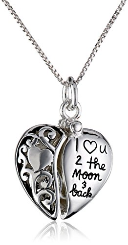 """Sterling Silver Heart """"I Love U 2 The Moon and Back"""" Pendant Necklace"""