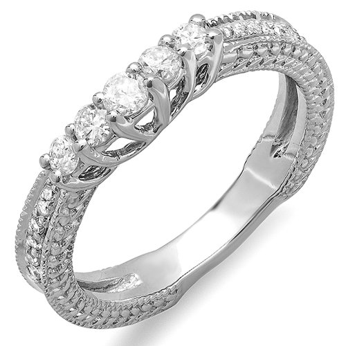 0.45 Carat (ctw) 14k White Gold Round Diamond Ladies Anniversary Wedding Band Guard Enhancer Ring 1/2 CT