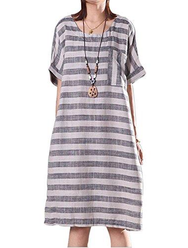 Fancy beautystyle Women's Asymmetrical Tunic Dress Striped Dress Loose Linen Summer Clothing