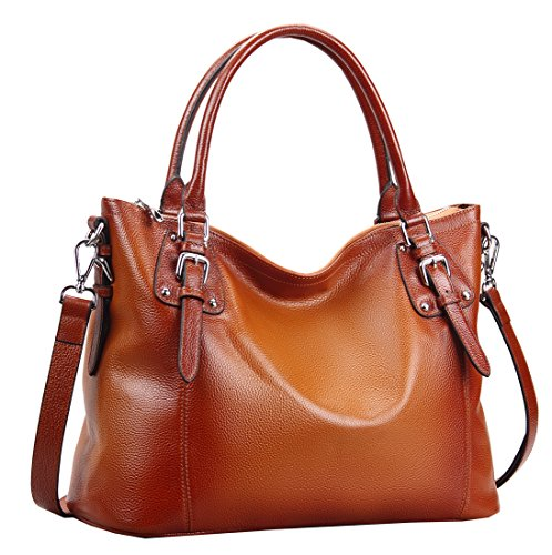 Heshe Womens Leather Vintage Handbags Shoulder Handbag Tote Top Handle Bag Cross Body Bags Satchel for Ladies Large Capacity