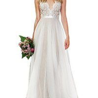 Ikerenwedding® Women's V-neck A-line Lace Tulle Long Wedding Dress for Bride