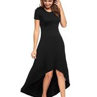 Zeagoo Women's Casual Hi Low Long Maxi Dress Short Sleeve Summer Swing Dress