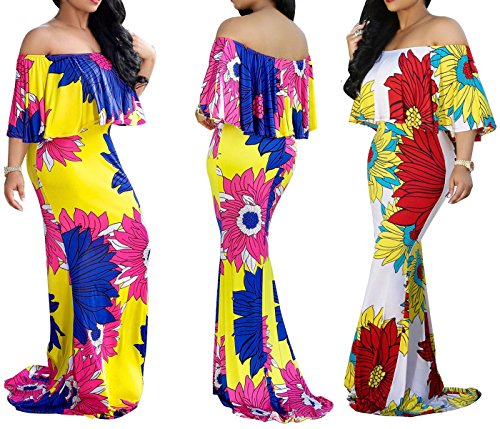 FairBeauty Women Summer Fashion Floral Print Strapless Flare Sleeve Fishtail Evening Grown Long Maxi Dress